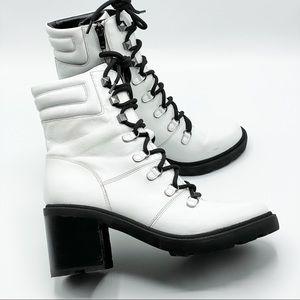 Marc Fisher Womens Laboni Combat Boot -White